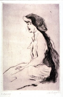 Woman seated with hat on - head toward left