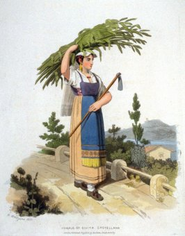 Female of Civita Castellana, plate 18 in the book Sketches Illustrative of the Manners and Costumes of France, Switzerland, and Italy by R. Bridgens (London: Baldwin, Cradock, and Joy … Hatchard and Son, 1821)