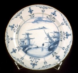 Serving plate with Asian scene