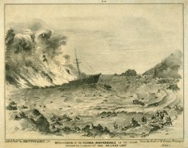 Wreck and Burning of the Steamer Independence on the Island Margarita, February 16th 1853. 150 Lives Lost