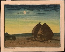 Untitled (Moonlit Landscape with Two Haystacks)