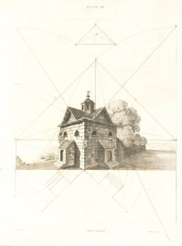 How to draw a Culver-House in angular Perspective, Plate 23 in the book The Principles of practical Perspective… (London: Leigh and Son…, 1835), part 1