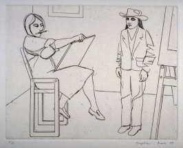 Beth Drawing Girl in Hat, plate 4 in the portfolio Twenty Etchings