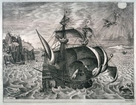 A Man-of-War near the Coast, with the Fall of Icarus