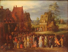 Village Scene with Outdoor Theatre
