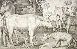 A Bull, Horse, Donkey, Fox, Hyena, and Two Goats, from the series Four-Legged Animals