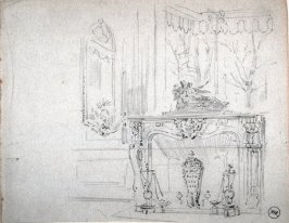 Recto: Untitled (Interior Scene with Fireplace)