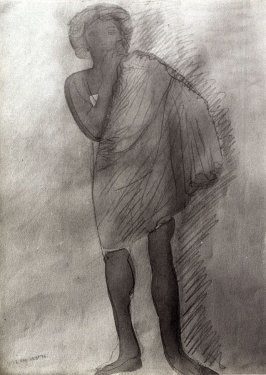 Untitled (Drawing of Standing Female Wearing a Cape)