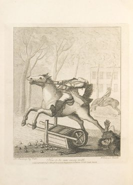 How to Be Run Away With, plate opposite page 27 in An Academy for grown Horsemen… (London: Hooper and Wigstead, 1796)