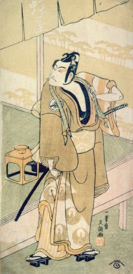 The actor Matsumoto Koshiro III (Danjuro V) as Soga no Goro Disguised as a Commoner, Standing Outside an Establishment called Choya (The Butterfly)