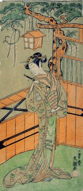 The actor Segawa Kikunojo II as Young Woman Holding a Flute