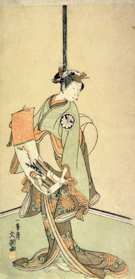 The actor Segawa Kikunojo II Holding a Handscroll Depicting the Gate to a Chinese City or Palace