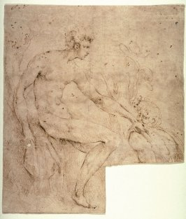 Recto:Two Male Figures in a LandscapeVerso: Studies for Ornamental Designs and a Male Head