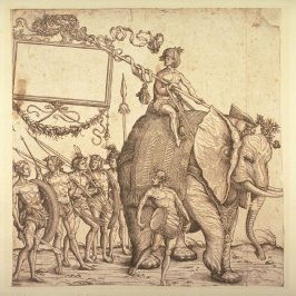 A man of Calicut, riding on an elephant, followed by five other men of Calicut