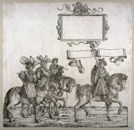 [Men on horseback playing flutes] from: The Triumph of Maximilian I