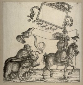 [Man on a horse leading four bears] from: The Triumph of Maximilian I