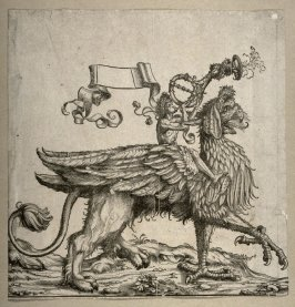 [Trumpeting figure riding on top of an animal] from: The Triumph of Maximilian I