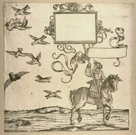 [Figure on a horse looking up at birds] from: The Triumph of Maximilian I
