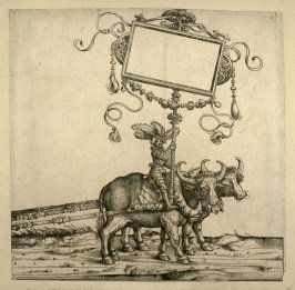 Two harnessed buffalo, driven by a boy... From: The Triumph of Maximilian I