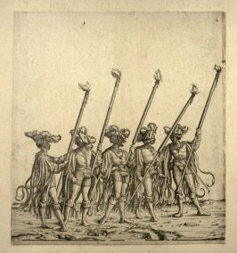 Five performers in the Spanish masquerade... From: The Triumph of Maximilian I