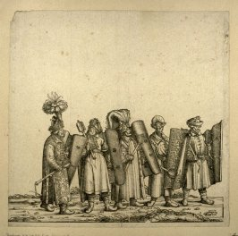 Five men with Hungarian shields... From: The Triumph of Maximilian I