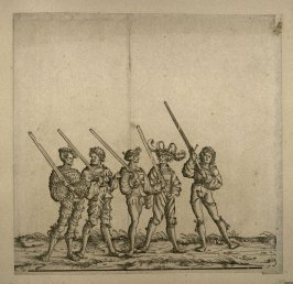 Five men with sheathed swords on their shoulders. From: The Triumph of Maximilian I