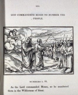 God commandeth Moses to number the people, pl. XXI in the book [ Holbein's Scripture Cuts] Icones Veteris Testamenti; illustrations of the Old Testament, engraved on wood, from designs by Hans Holbein (London: William Pickering, 1830)