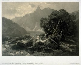 Lake of Lowertz, Suisse (1853) from Fifty lithographs from Oeuvres de A. Calame