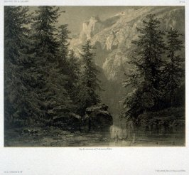 Lake of Eschinenn (1853) from Fifty lithographs from Oeuvres de A. Calame