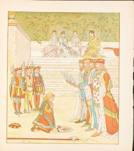 Illustration on page 31 in the book The Queen of Hearts (London: George Routledge & Sons, ca. 1885- 1900)