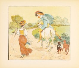 Illustration on page [10] in the book, The Milkmaid ([London: George Routledge & Sons, ca. 1885-1900])
