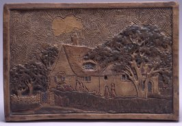 Tile with House Flanked by Trees