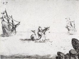 A mermaid between two ships, plate 17 from Lux Claustri
