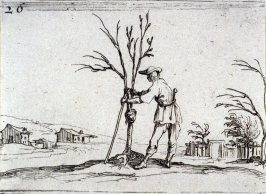Gardener pruning a shrub, plate 26 from Lux Claustri