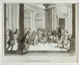 Christ leaving the temple, stones being thrown at him, from The New Testament