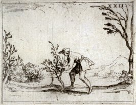 Man Cutting a Little Tree, plate 23 from Life of the Virgin in Symbols