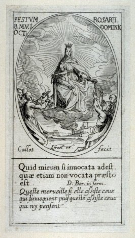 Notre Dame du Rosaire; the Virgin and the infant Jesus distribute the rosaries, from Images of Movable Feasts (Les Fetes Mobiles)