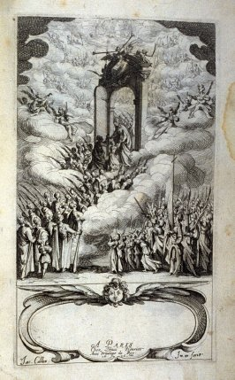 Frontispiece for the book, Les IMAGES DE TOUS/LES SAINCTS ET SAINTES /DE L'ANNÉE... (Images of All the Saints of the Year...)(Paris: Chez Israël Henriet, 1636)