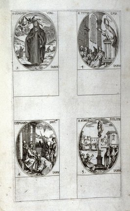 St. Genevieve, January 3; St. Titus, Bishop, January 4; St. Simeon Stylites, January 5; Feast of Epiphany January 6; second plate from the book Les IMAGES DE TOUS/LES SAINCTS ET SAINTES /DE L'ANNÉE... (Images of All the Saints of the Year...)(Paris: Chez