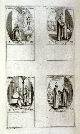 St.Mary of Gladness, June 5; St. Claudius, Archbishop, June 6; St. Norbert, Archbishop, June 6; St. Robert, Abbot, June 7; forty-eighth plate from the book, Les IMAGES DE TOUS/LES SAINCTS ET SAINTES /DE L'ANNÉE... (Images of All the Saints of the Year...)