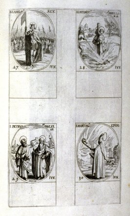 St. Ladislas, King, June 27; Sts. Potamiena and Marcella, Martyrs, June 28; Sts. Peter and Paul, Apostles, June 29; St. Martial, Bishop, June 30; fifty-fourth plate from the book, Les IMAGES DE TOUS/LES SAINCTS ET SAINTES /DE L'ANNÉE... (Images of All the