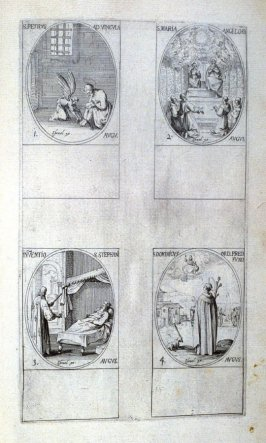 St.Peter in Chains, August 1; St. Mary of the Angels, August 2; Discovery of the Body of St. Stephen, August 3; St. Dominic, Founder of the Order of Preaching Fathers, August 4; sixty-sixth plate from the book, Les IMAGES DE TOUS/LES SAINCTS ET SAINTES /D
