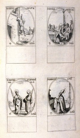 St.Callistus, Pope and Martyr, October 14; St. Hedwig, Duchess of Poland, October 15; Sts. Martinian and Saturian, Martyrs , October 16; St. Florentin, Bishop, October 17; ninety-third plate from the book, Les IMAGES DE TOUS/LES SAINCTS ET SAINTES /DE L'A