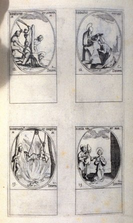 Sts. Maxentius and Leander, Martyrs, December 12; Sts. Sergius and Paul, December 12; Sts. Eustratius and Orestes, Martyrs, December 13; St. Lucia, Virgin and Martyr, December 13; one hundred and THIRTEENth plate from the book, Les IMAGES DE TOUS/LES SAIN