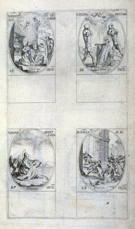 Nativity of Our Lord Jesus Christ, December 25; St. Stephen, Protomartyr, December 26; St. John, Apostle and Evangelist, December 27; Holy Innocents, December 28; one hundred and eighteenth plate from the book, Les IMAGES DE TOUS/LES SAINCTS ET SAINTES /D