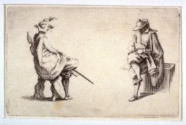 Two Seated Gentlemen, pl. [2] from the second edition of the series Capricci di varie figure