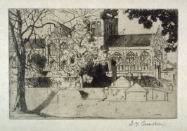 Winchester Cathedral from the Set of Twenty Etchings, illustrations for Compleat Angler by Isaac Walton, London 1902.