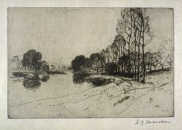 The river Lea, above Ware from the Set of Twenty Etchings, illustrations for Compleat Angler by Isaac Walton, London 1902.