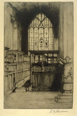 The Chapel, Haddon Hall from the Set of Twenty Etchings, illustrations for Compleat Angler by Isaac Walton, London 1902.