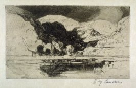 Dovedale, from the Set of Twenty Etchings, illustrations for Compleat Angler by Isaac Walton, London 1902.